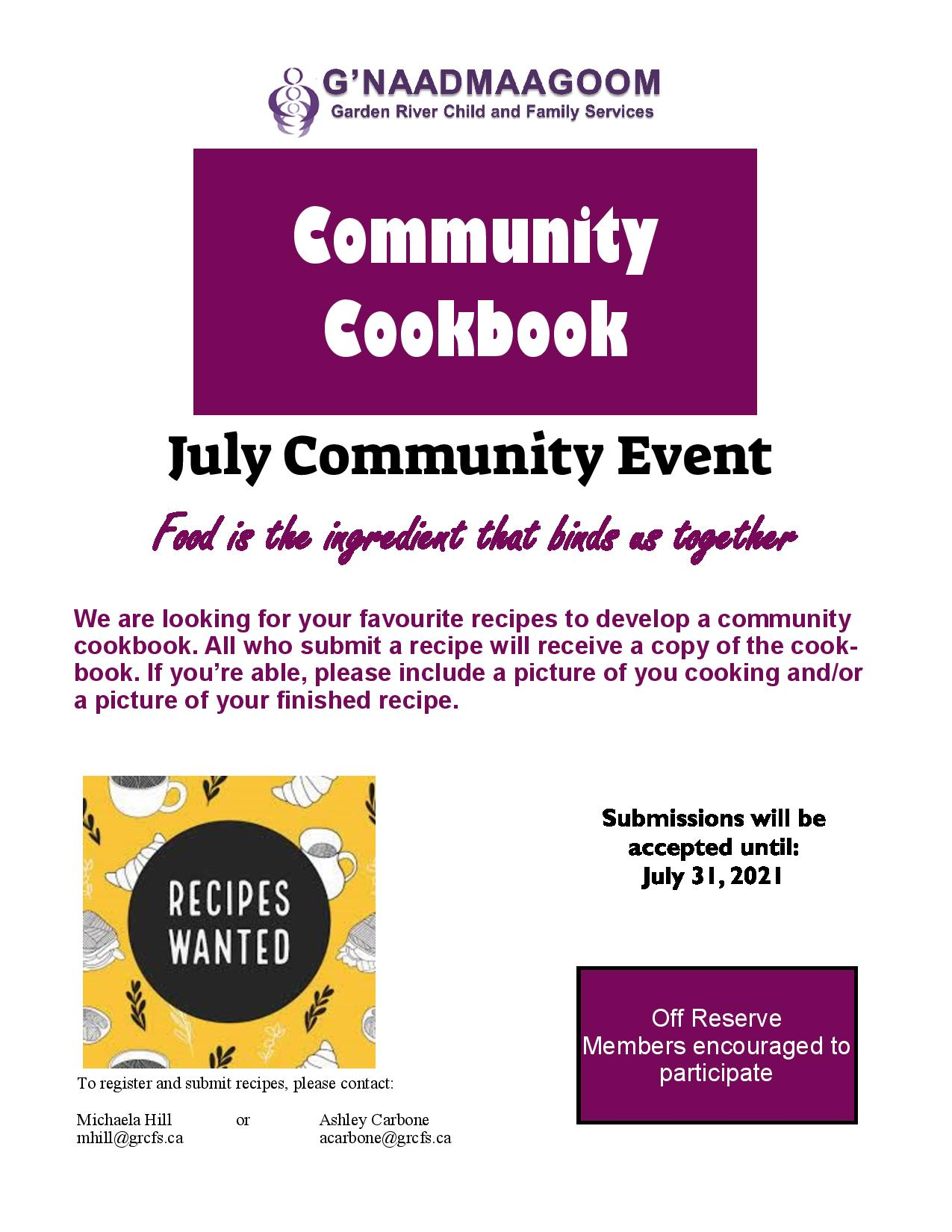 Garden River First Nation Child & Family Services July Community Event: Community Cookbook