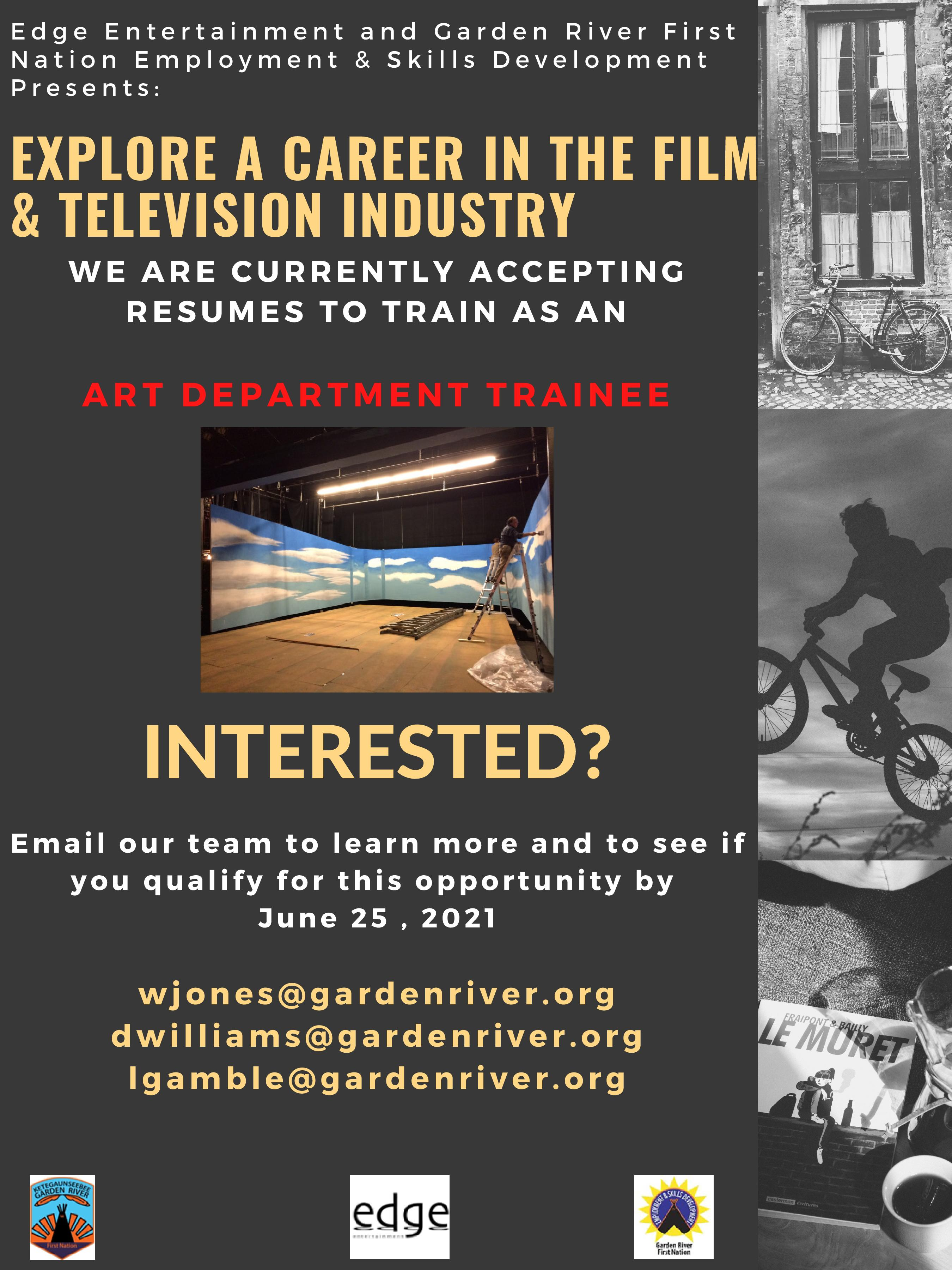 GRFN Employment Skills & Development – Explore a Career in the Film & Television Industry