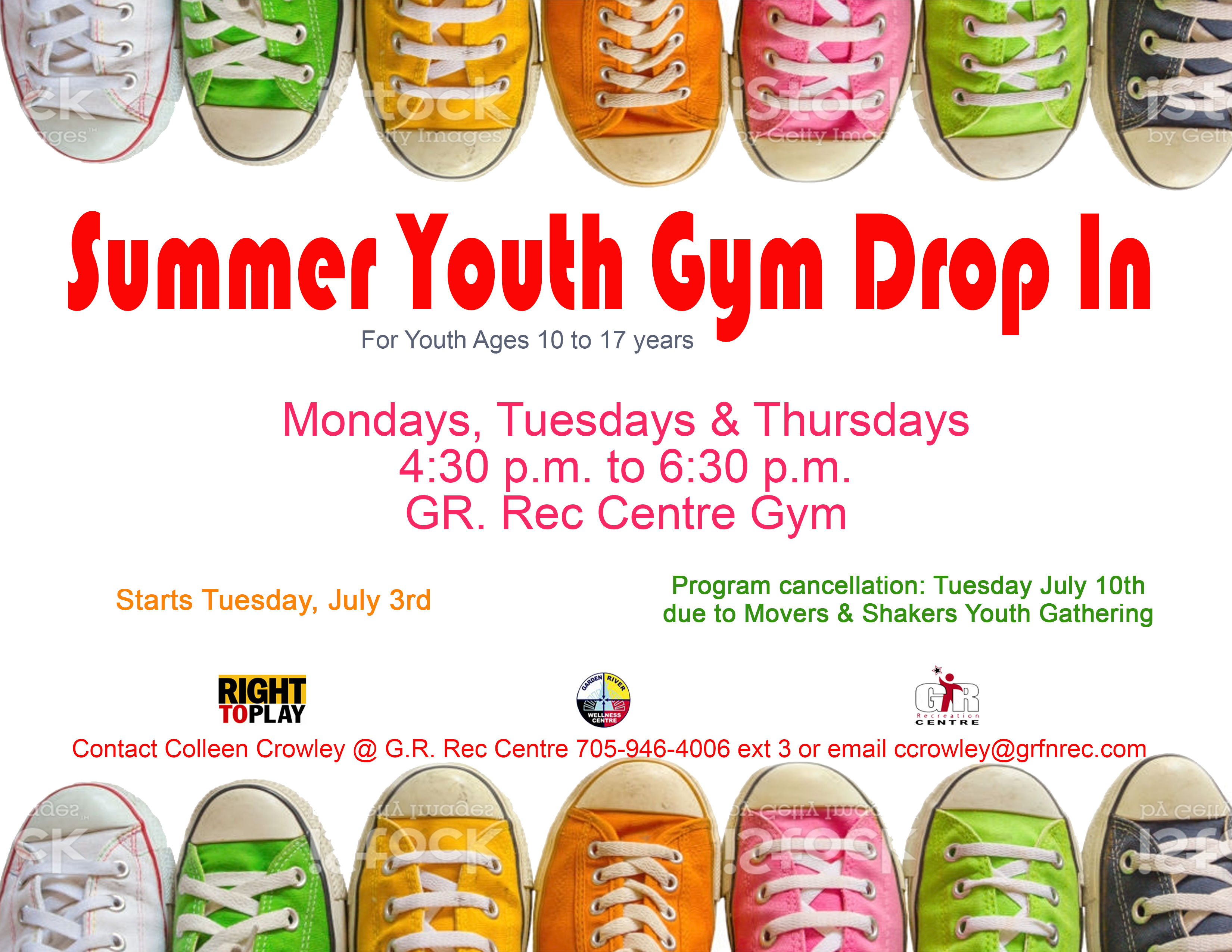 9f29061208f Summer Youth Gym Drop In for Youth ages 10 to 17 years